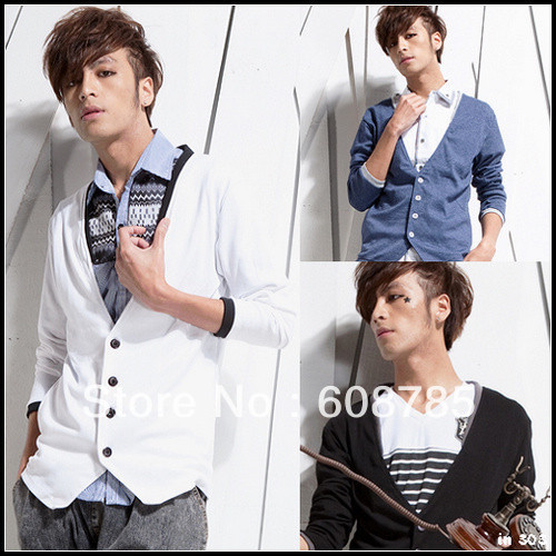 Free shipping 2012 spring autumn men's V-neck slim sweters faux two piece collision color cardigan sweater B0295(China (Mainland))