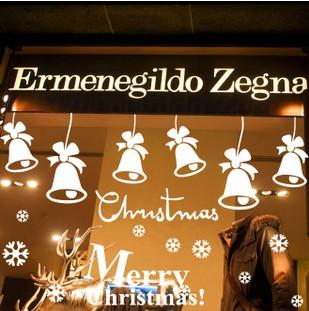 Festival Merry Christmas Jingle Bell Glass Window Cabinet Shopping Mall Decorative Sticker 82*75CM Free Shipping (China (Mainland))