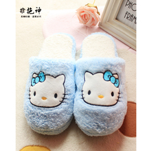 New fashion hello kitty home slippers pattern shoes women's cute indoor slippers super warm soft winter house shoes plush shoes