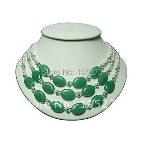 Pearl Jewelry White Freshwater Pearl Green Jade Necklace AA 4-16MM 18-20inch Fashion Jewelry Wholesale New Free Shipping