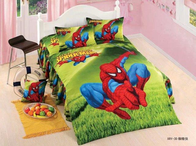 Прохладный паук / человек характер печать постельное белье устанавливает детский мальчик покрывала твин-спальная кровать 3 шт. утешитель / пододеяльники