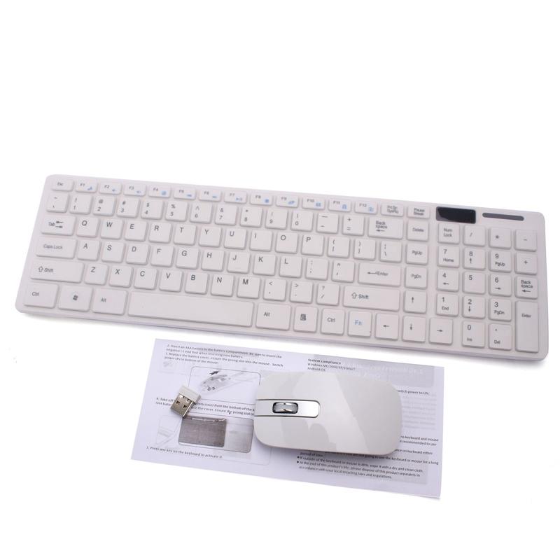 2.4G White Wireless PC Keyboard +Mouse Keypad Film Kit Set For DESKTOP PC Laptop(China (Mainland))