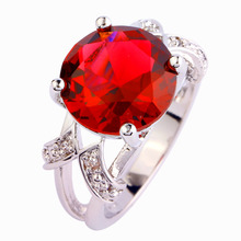 Wholesale 94R21 Round Cut Pink Tourmaline &White Sapphire 925  Silver Ring Size  6 7 8 9 Free shipping