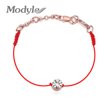 2016 Hot Christmas Gift Jewelry Thin Red Thread String Rope Bracelet 18K Rose Gold Plated Chain and Crystal Bracelet for Women(China (Mainland))