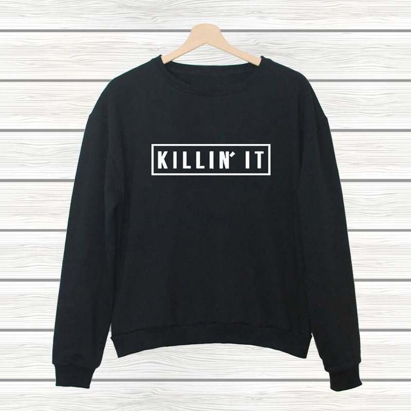 2016 New KILLIN IT Letter Print Spring Fashion Harajuku Jogging Tracksuits Pullover Hipster Sport Women's Sweatshirt or Hoodies(China (Mainland))