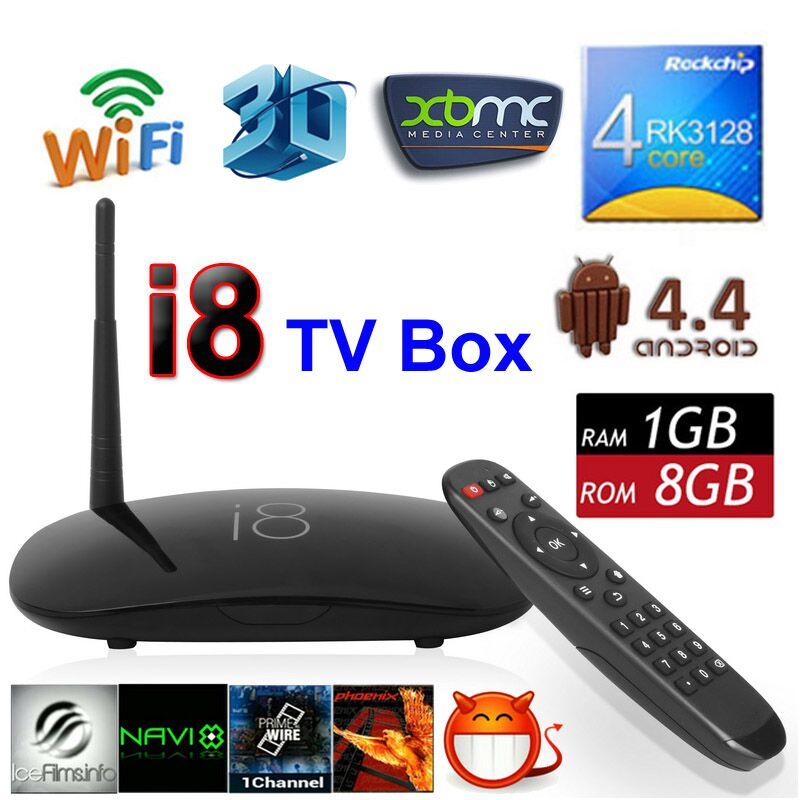 I8 Android 4.4 TV BOX Quad Core Rockchip RK3128 1G 8G 1080P Smart Google Media Player Mini PC H.265 3D WiFi KODI Set Top Box(China (Mainland))