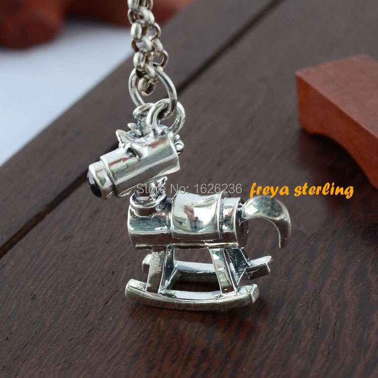 100% geniune 925 sterling silver Vintage color thai silver small horse pendant male female fashion necklace pendant key chain(China (Mainland))