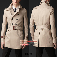 Free shipping wholesale Spring 2015 new fashion casual coat double-breasted coat and long coat male coat NO.715(China (Mainland))