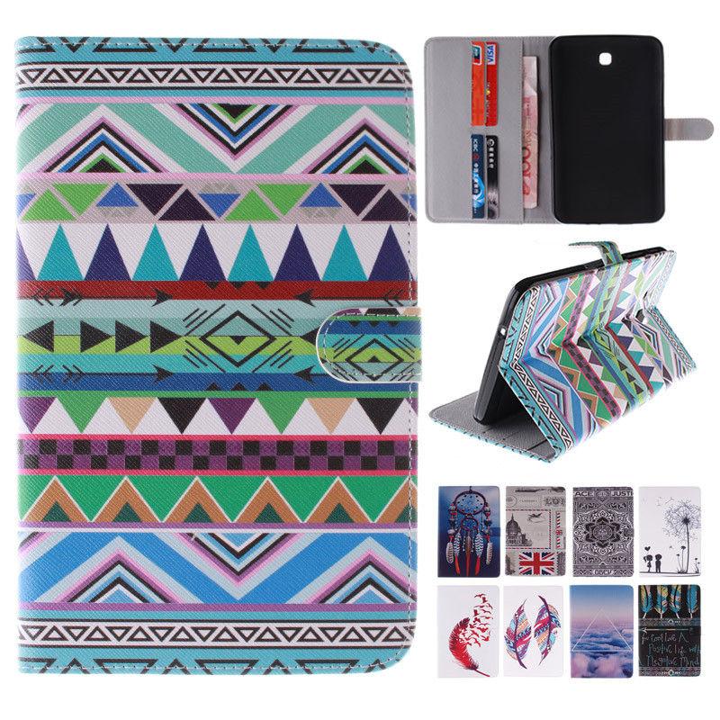 Кожаный Чехол для Samsung Galaxy Tab3 7.0 P3200 Мода Одуванчик/Флаг Живопись Защитная Крышка Кожи Tablet Чехол с Слот Для Карт