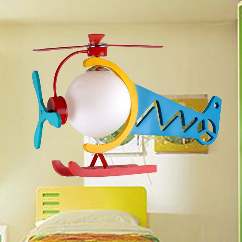 Cartoon light aircraft pendant light child light bedroom lamps wool personalized font b helicopter b font