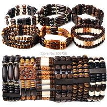 40% OFF~! Wholesale Mix Lot 10pcs Wood Beads Bracelets Fashion Bracelet Jewelry Adjustable Charm Bracelets Free Shipping