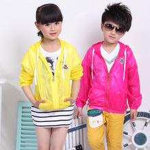 New 2015 Thin Female Child Outerwear Male Child Sun Protection Clothing Air Conditioning  Candy Color Shirt Free Shipping A008(China (Mainland))