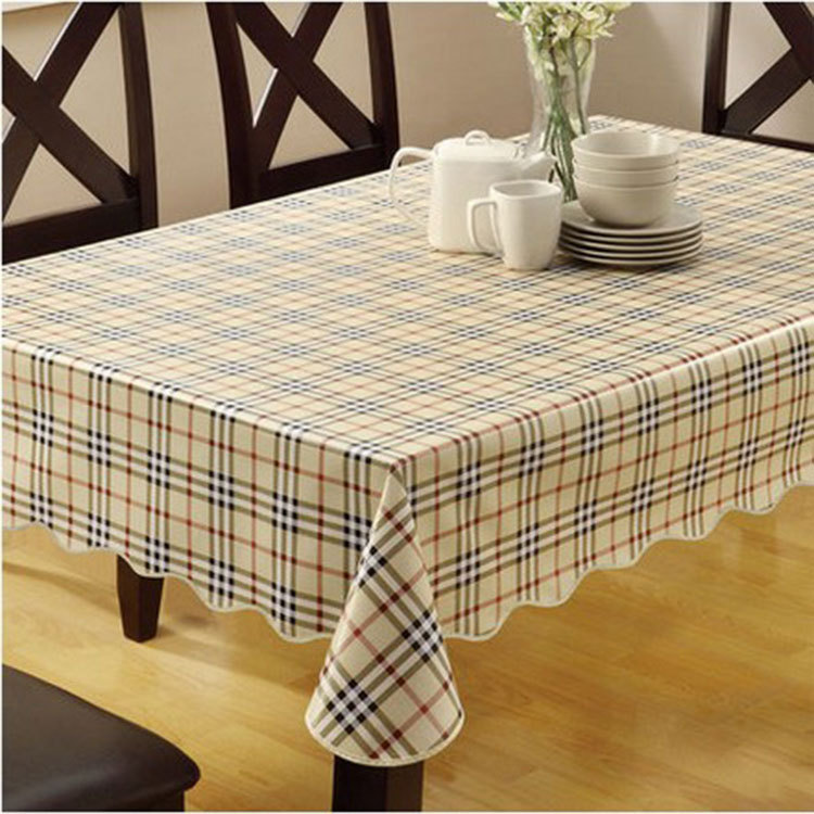 PVC Nappe Table Cloth Plastic Waterproof Oilproof Dining Tablecloth Plaid Printed Table Cover Overlay Nappe Printed(China (Mainland))