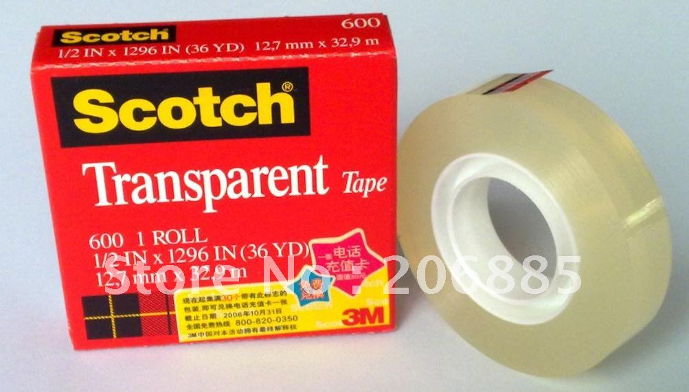 100% Original 3M 600 scotch High performance transparent bopp film tape 12.7mm*33M 50pcs/lot we can offer other size(China (Mainland))