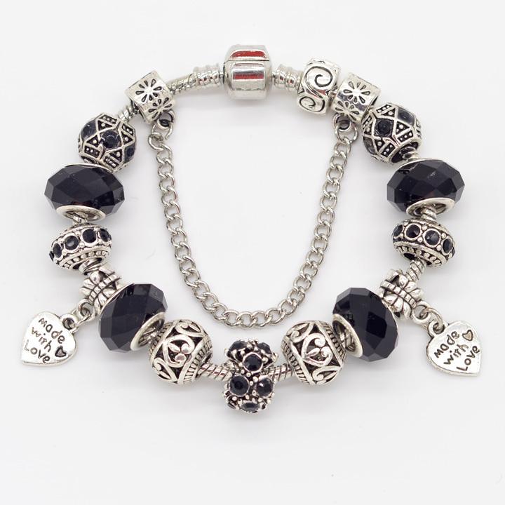Made With Love Gift Charm DIY Bracelets & Bangles Heart Beads Chain Cuff Bracelets ID Women Gift Girls Accessory JB32401(China (Mainland))