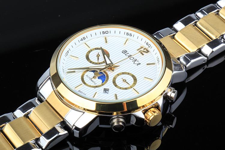 2016 BIAOKA Бренд Часы Могут понежиться 100 м АТМ водонепроницаемый календарь мужская механические часы Кожа Наручные Часы Для Мужчин Horloge