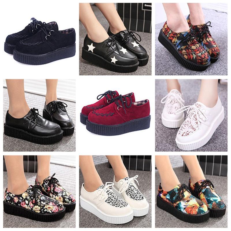 Creepers shoes 35-41 women Shoes plus size ladies platform shoes 2017 Women Flats shoes(China (Mainland))