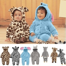Baby Rompers 2015 Hooded Cartoon Animal Long Sleeves Fleece Infant Coveralls Newborn Boy Girl Clothes Warm Baby Rompers SV005524(China (Mainland))
