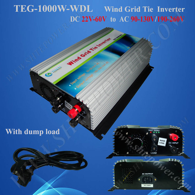 micro inverter! 1000w wind grid tie power inverter, DC 22-60v to 230v, DC to AC wind inverter 1kw with Dump load controller