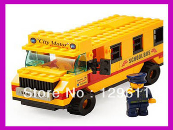 Free Shipping!105 PCS Lubanjiang construction toys Assembling Building Blocks  Plastic Toy School Bus Educational Toys