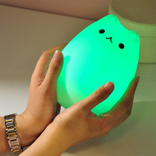 USB Cute Kitty LED Children Night Light Multicolor Silicone Soft Baby Nursery Lamp Sensitive Tap Control Bedside Lamp For Kids(China (Mainland))