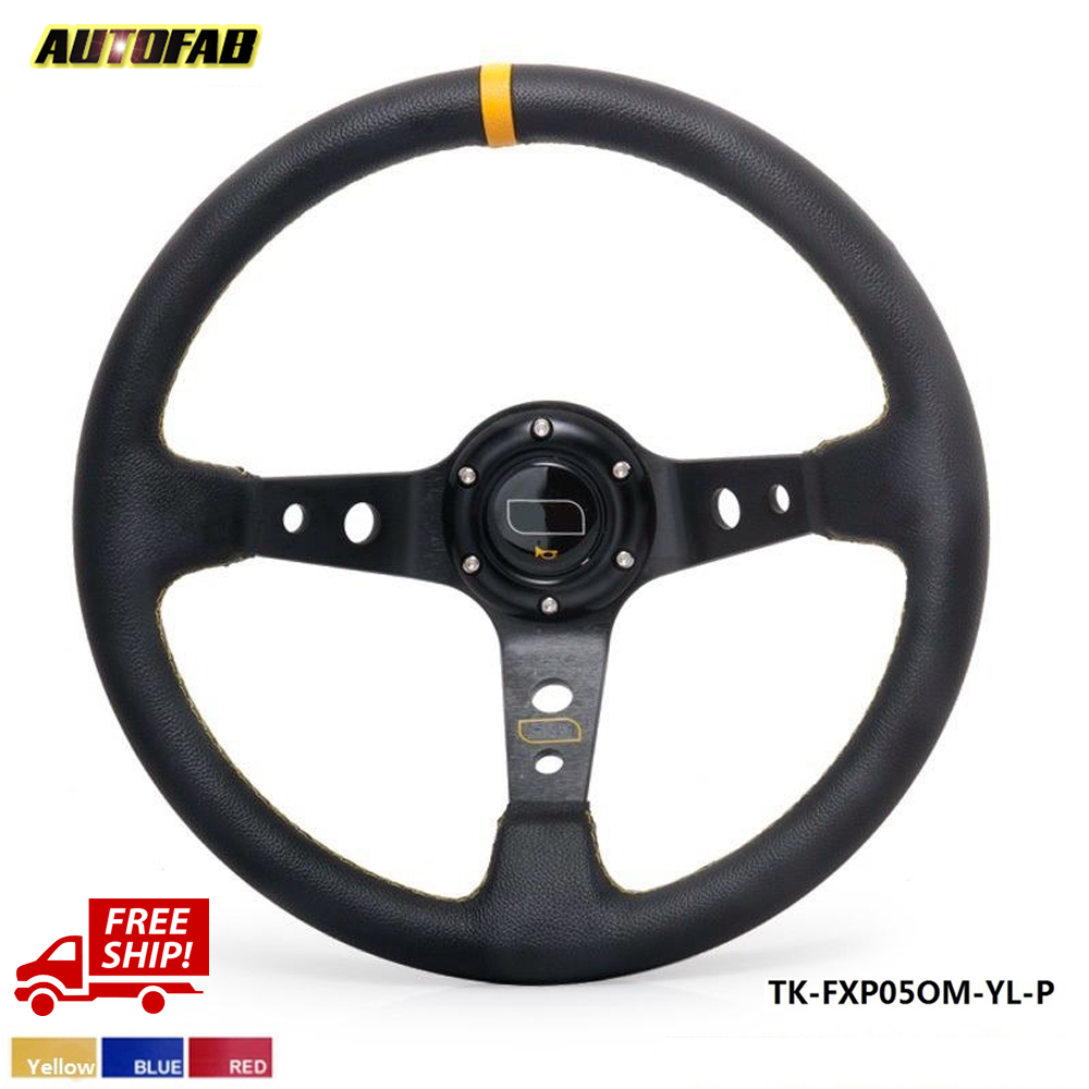 Steering Wheel 350MM PVC Deep Dish Drifting Sport Racing Steering Wheel Aluminum Frame TK-FXP05OM-P-FS(China (Mainland))