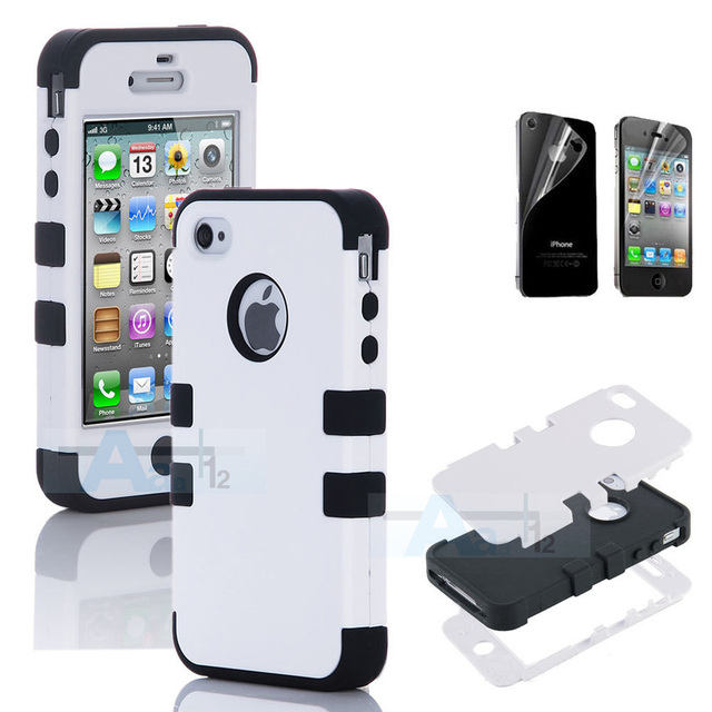 Hybrid High Impact Case Cover for iPhone 4S 4 4G White / Black Silicone freee shipping