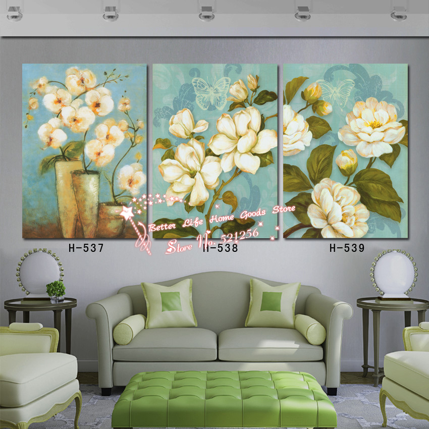 Modern Wall Art Home Decoration Printed Oil Painting Pictures No Frame 3 Panel Large Classical Apple Flowers Living Room Decor(China (Mainland))