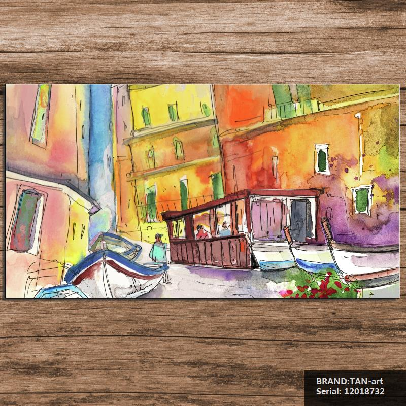 Manorola In Italy Painting Landscape Abstract Spray Unframed Canvas Frameless oil Painting Drawing 12018732(China (Mainland))