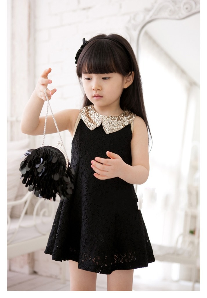 Kids Girl Clothing Lovely Girls Dresses Sequins Collar Sleeveless Black Lace Dresses Kids Clothes Princess Girls Dress(China (Mainland))