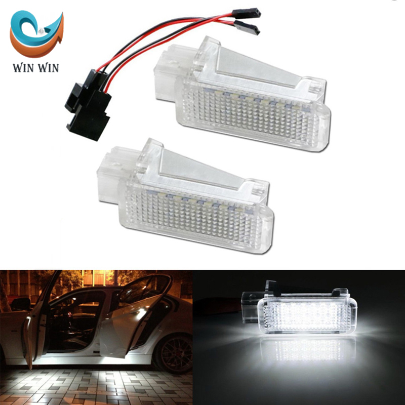 Super Bright Car Door Welcome Light Shadow LED Fine Error Free White Light 2Pcs For Audi & Volkswagen & Seat Alhambra VW-PZ006(China (Mainland))