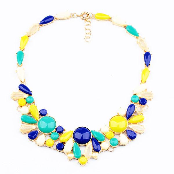 New Fashion Vintage Gem JC Design Brand Bib Choker Collar Necklace For Women Custom Choker Necklace 8642(China (Mainland))