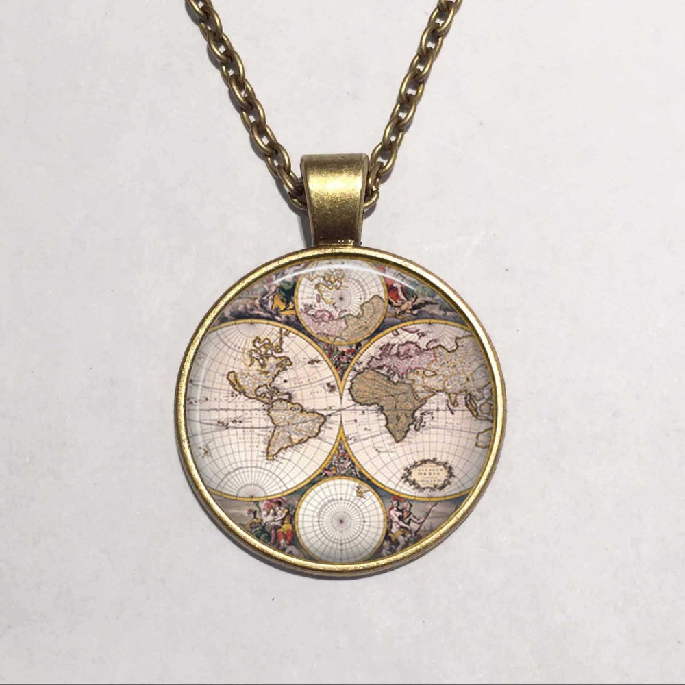 new 1pcs lot 25mm 1 inch handmade world map necklace