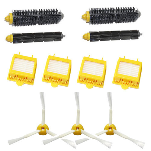 New 2 pairs Bristle Brush Flexible Beater Filter Brush + 4x Filter 3 3-armed Side Kit for iRobot Roomba 700 Series 760 770 780(China (Mainland))