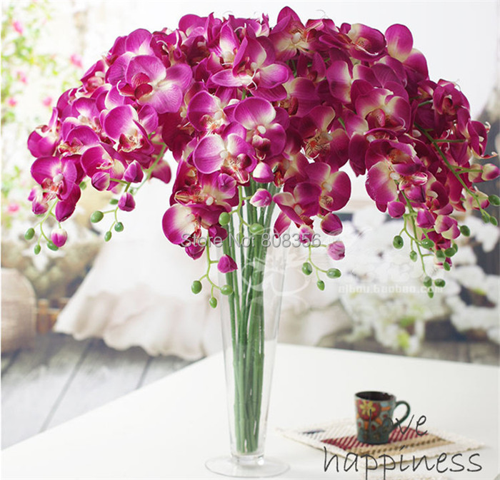 """NEW Silk Phalaenopsis 80cm/31.5"""" Length Artificial Simulation Orchid white/pink/fuchsia/purple/green Colors for Wedding Flower(China (Mainland))"""