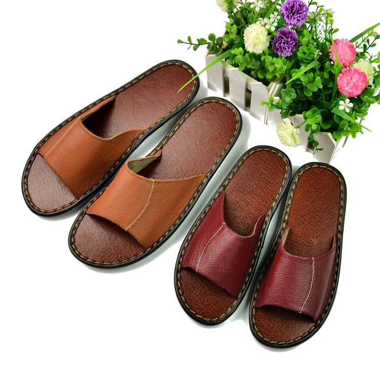 2016 Womens Leather Slippers Floor Summer Sandals High Quality Women Slip Deodorant And Fashion House Slippers<br><br>Aliexpress