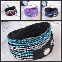 New Fashion 12 Layer Leather Bracelet! Factory Discount Prices, Charm Bracelet 7 Color Choices(China (Mainland))