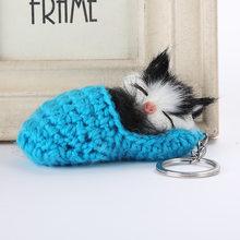 Gato bonito Do Sono Chaveiros Para As Mulheres Meninas Fluffy Faux Pele De Coelho Pompom Tricô Sapato Gatinho Chaveiro da Chave Do Carro Anéis llavero(China)