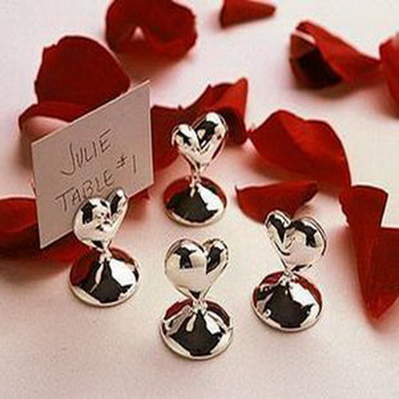 10pcs Lot Mini Design Heart Shape Chrome Place Card Holders Wedding Table Decoration Gift Bridal Shower