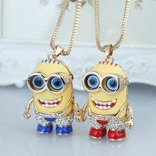 2015 Fashion Pretty Little Yellow People Gold Pendant Necklace Crystal Rhinestone Necklace For Women Collier Statement Jewelry(China (Mainland))