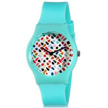 Willis para las Mini mujeres ocasionales lindos de relojes redondos del Dial analógico reloj de pulsera con el plástico para mujer correa de reloj 0450