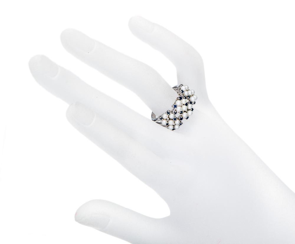 Белый жемчуг пресноводных и синий сапфир твердые стерлингового серебра 925 кольцо женщины изящных ювелирных изделий