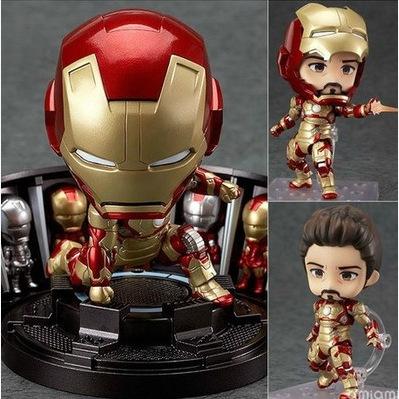 "New 4"" 10cm superhero Nendoroid Iron Man Mark Tony Stark doll Action & Toy Figures Collectible Model toy for children(China (Mainland))"