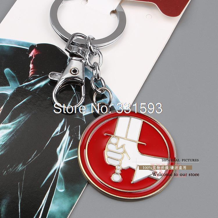 Free Shiping Retail 1pcs Movie Hellboy Cosplay Keychains Pendant Keyring Metal Keychain Key Ring Figures Toys 3styles(China (Mainland))