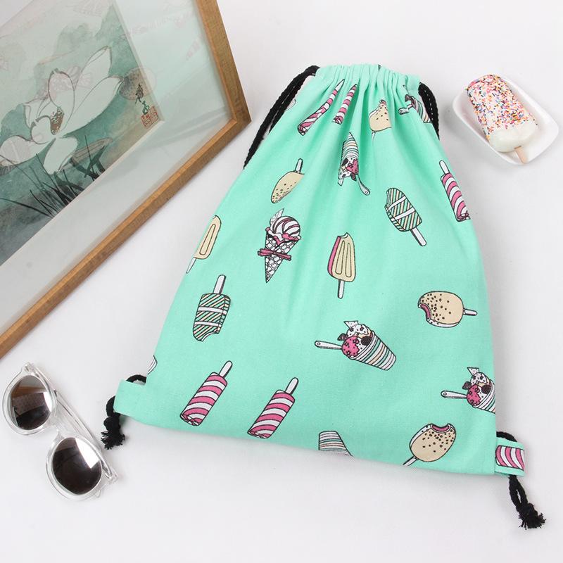 Cute Drawstring Storage Bag Ice Cream Pattern Backpack Large Capacity Schoolbag(China (Mainland))