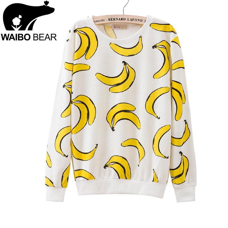 New Fashion Women Sweatshirts Harajuku Style Long Sleeve Banana Printed Tracksuits Female Cute Sport Suit Ladies Sudaderas(China (Mainland))