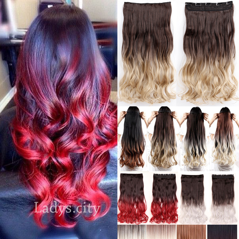 1PC 58cm 23inch Ombre Hair Extensions Wavy Heat Resistance 2 Tones Hair Long Curly Synthetic Clip In Hair Extension Red Brown(China (Mainland))