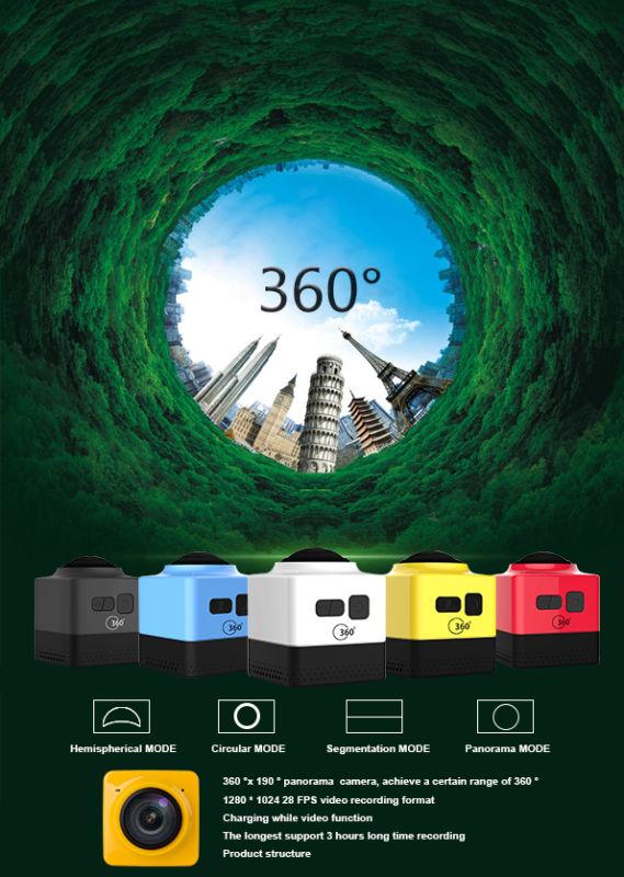 Fochutech Sports camera CUBE360 Mini Sports Action Camera 720P 360-degree Panoramic VR Camera Build-in WiFi