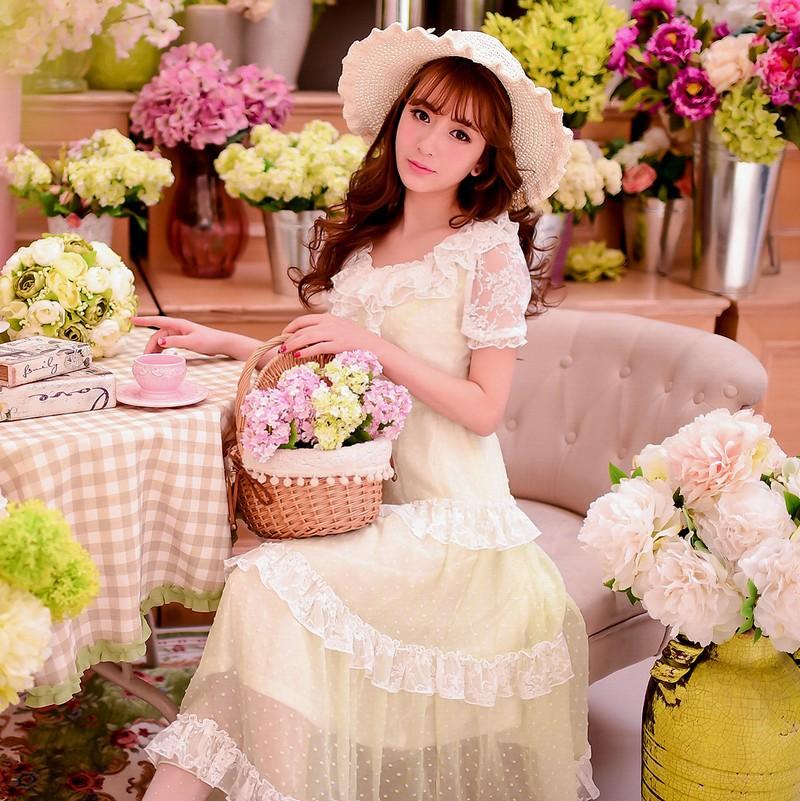 Princess sweet lolita dress Candy rain new summer Japanese style cute sweet Pure and fresh lace chiffon Long skirt  dress W33Одежда и ак�е��уары<br><br><br>Aliexpress