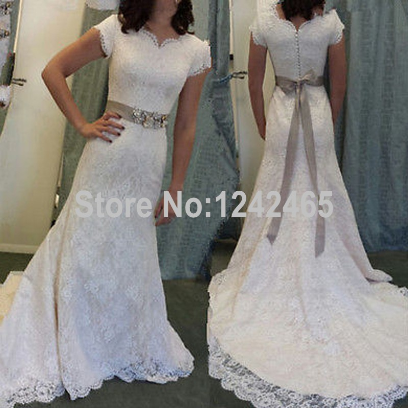 Buy cheap vintage lace wedding dress 2016 cap sleeve floor for Wedding dress discount warehouse